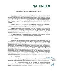 sample license agreement naturex trademark license agreement