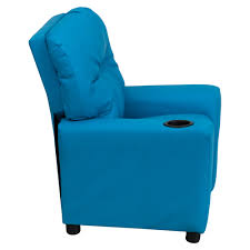 Youth Recliner Chairs Upholstered Kids Recliner Chair Cup Holder Turquoise Dcg Stores