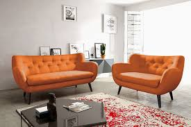 canap orange ensemble canapé fixe 3 2 places orange en tissu style scandinave