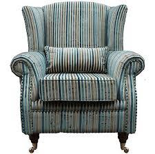 wing chair fireside high back armchair aqua stripe chairs