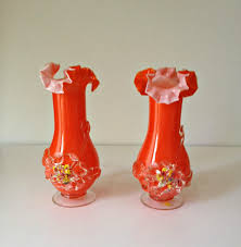 Italian Glass Vases Vintage 1950s Vases Pair Of Orange Italian Glass Vases