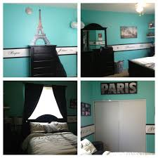 blue paris themed bedroom