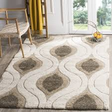 3 X 4 Area Rug Safavieh Florida Shag Cream Smoke Geometric Ogee Area Rug 5 U00273 X