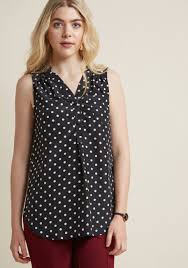 tunic blouse about scranton sleeveless tunic in polka dots modcloth