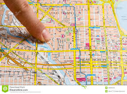 Chicago City Map by Finger On Map Stock Photos Image 36684543
