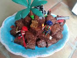 pirate island brownie birthday cake with blue icing and edible