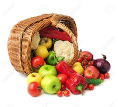 fruit and vegetable basket fruit and vegetable in basket isolated on white background stock