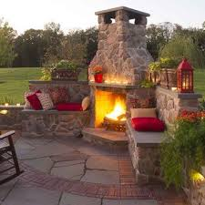 Backyard Brick Patio Design With Grill Station Seating Wall And by Best 25 Backyard Fireplace Ideas On Pinterest Chimnea Outdoor