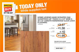 home depot only hardwood flooring 1 99 sq ft monday only