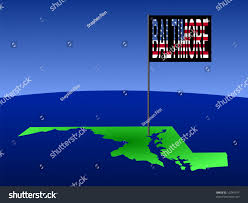 Baltimore Flag Map Maryland Position Baltimore Marked By Stock Illustration