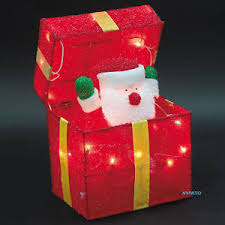 indoor lighted gift boxes animated santa gift box lighted tinsel indoor outdoor christmas