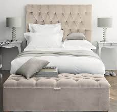 white tall tufted headboard med art home design posters