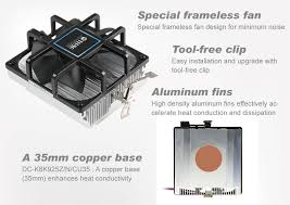 12v dc amd cpu air cooler with 90mm frameless fan and aluminum