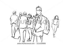 people walking pen ink sketch stock illustration 511459966