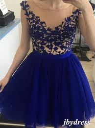 a line round neck cap sleeves short royal blue prom dress short