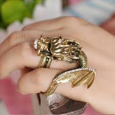 dragon jewelry rings images Vintage punk auspicious dragon head double finger ring men jewelry jpg