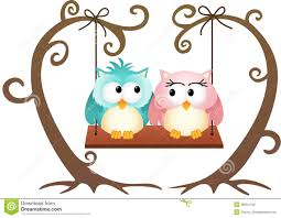 cute couple owls in love on a swing stock photo image 35054140