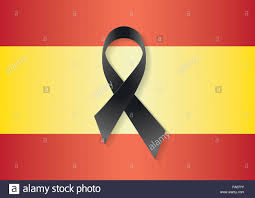 Picture Of Spain Flag Spain Flag With A Black Ribbon To Commemorate And Mourn The
