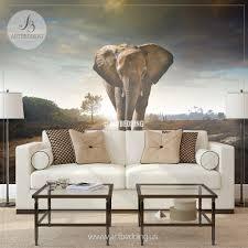 Wall Murals For Living Room Elephant Wall Mural Self Adhesive Peel U0026 Stick Photo Mural Wild