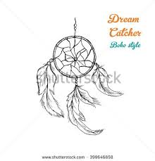 hand draw dreamcatcher beads feathers birds stock vector 342528476