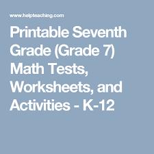 printable seventh grade grade 7 math tests worksheets and