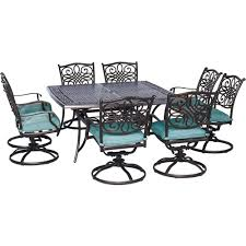 Swivel Rocker Patio Dining Sets Hanover Traditions 9 Outdoor Square Patio Dining Set And 8