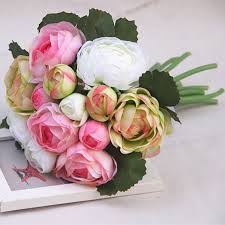 fleur artificielle mariage bouquet mariee blanc et vert 15 2017 nouveau design de mariage