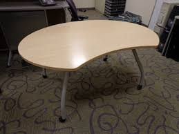 Steelcase Desk Vintage Steelcase Used Kidney Shaped Contemporary Corner Wood Metal Table