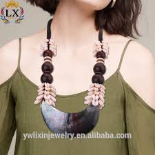 wholesale shell necklace images Nlx 00083 wholesale black lip shell with large wood beads and jpg