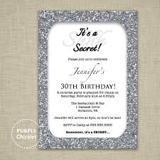 30th surprise party invitations 30th birthday invitation silver glitter glam surprise party