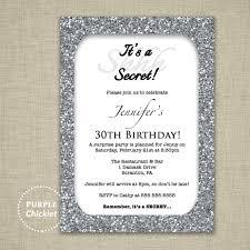 30th birthday invitation silver glitter glam surprise party