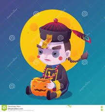 free halloween vector background chinese hopping vampire ghost for halloween stock vector image