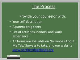 Guidance Counselor Brag Sheet Welcome To The Northern Highlands Senior Parent