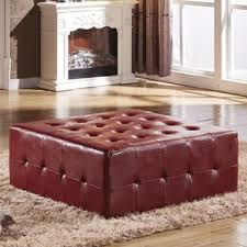 Tufted Leather Cocktail Ottoman by Burgundy Ottoman Wayfair