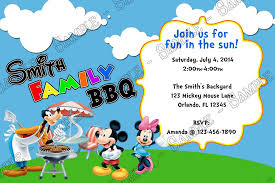 Backyard Birthday Party Invitations Novel Concept Designs Mickey Mouse Bbq Birthday Party Invitation