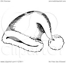 cartoon of a sketched black and white santa hat royalty free