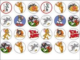 tom and jerry cake topper 24 x tom and jerry edible wafer rice paper cup cake top toppers