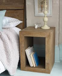 simple wooden bedside cabinet ideas with big shelves beside