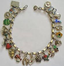 antique charm bracelet images Rare vintage antique german silver enamel lucky charm bracelet 23 jpg