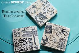 diy rubber stamped tile coasters a very sturdy design