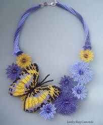 flowers with butterfly necklace images Beaded flowers necklace butterfly necklace seed bead necklace blue jpg