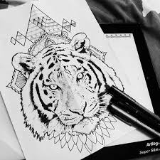 white realistic tiger on mandala and geometric figures background