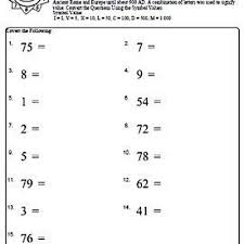 roman numeral worksheets with answers