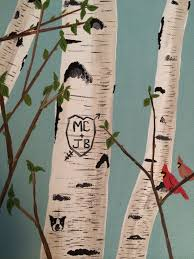 initials carved in tree painting of birch tree couples initials carved into tree