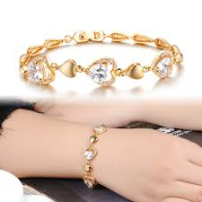 women bracelet heart images Tengyi heart love bracelets gold color new heart crystal for women jpg