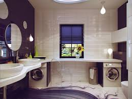 teenage bathroom design big wall mirror recessed cei florals