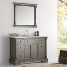 Vanity And Mirror 49 Inch Traditional Coffee Bathroom Vanity With Mirror And Carrera