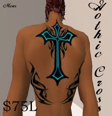 second life marketplace ink blots gothic cross back tattoo in 3
