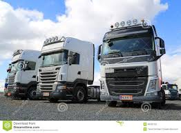 volvo heavy row of white volvo and scania trucks editorial photography image