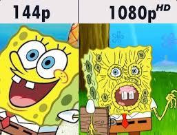 Hd Meme - spongebob squarepants in 144p vs 1080p hd resolution